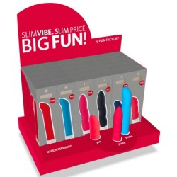 DISPLAY WITH 30 SLIMVIBE VIBRATORS BY FUN FACTORY AND 3 FOR FREE