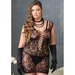 LACE DRESS WITH FLORAL PATTERN AND LACING PLUS SIZE