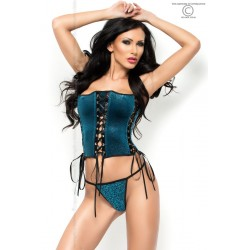 CORSET AND THONG CR-3820 BLUE